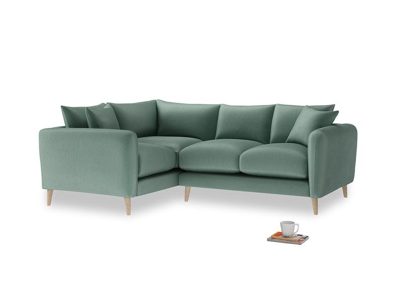 Large Left Hand Squishmeister Corner Sofa in Sea blue vintage velvet