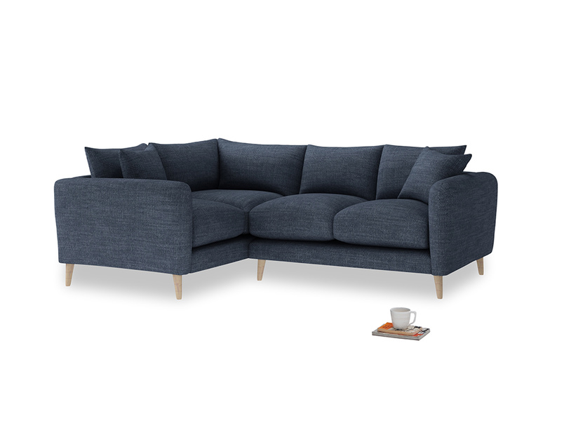 Large Left Hand Squishmeister Corner Sofa in Selvedge Blue Clever Laundered Linen