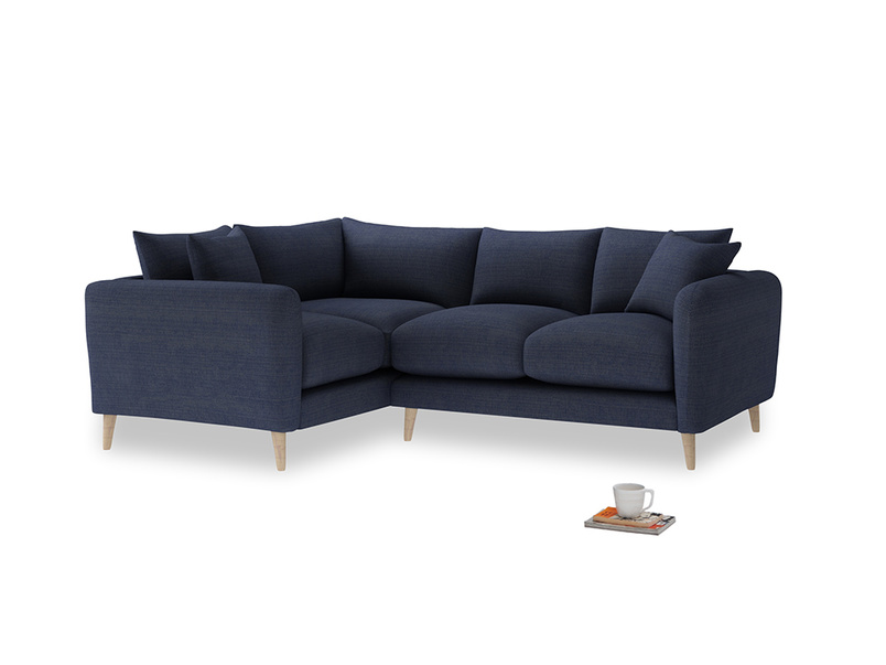 Large Left Hand Squishmeister Corner Sofa in Seriously Blue Clever Softie