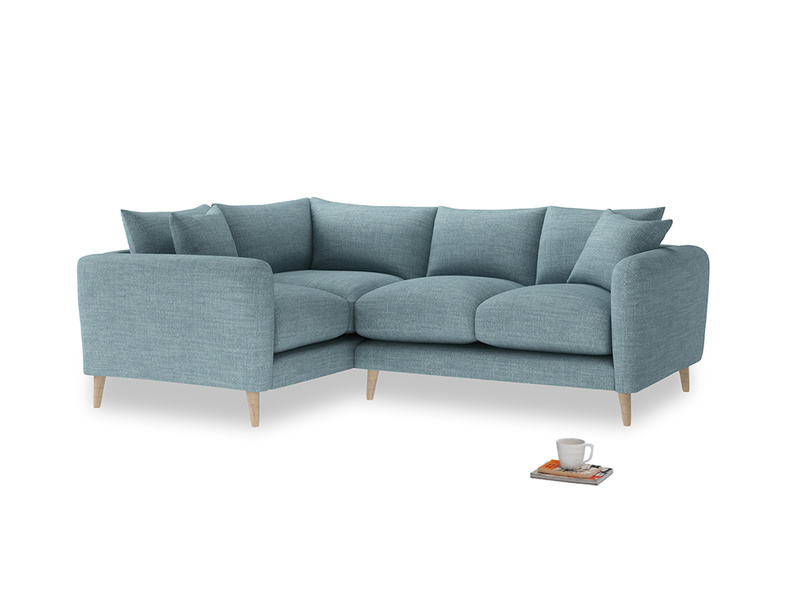 Large Left Hand Squishmeister Corner Sofa in Soft Blue Clever Laundered Linen