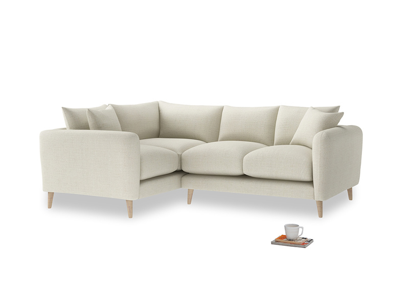 Large Left Hand Squishmeister Corner Sofa in Stone Vintage Linen
