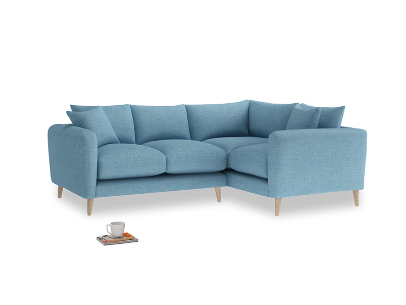 Large Right Hand Squishmeister Corner Sofa in Moroccan blue clever woolly fabric