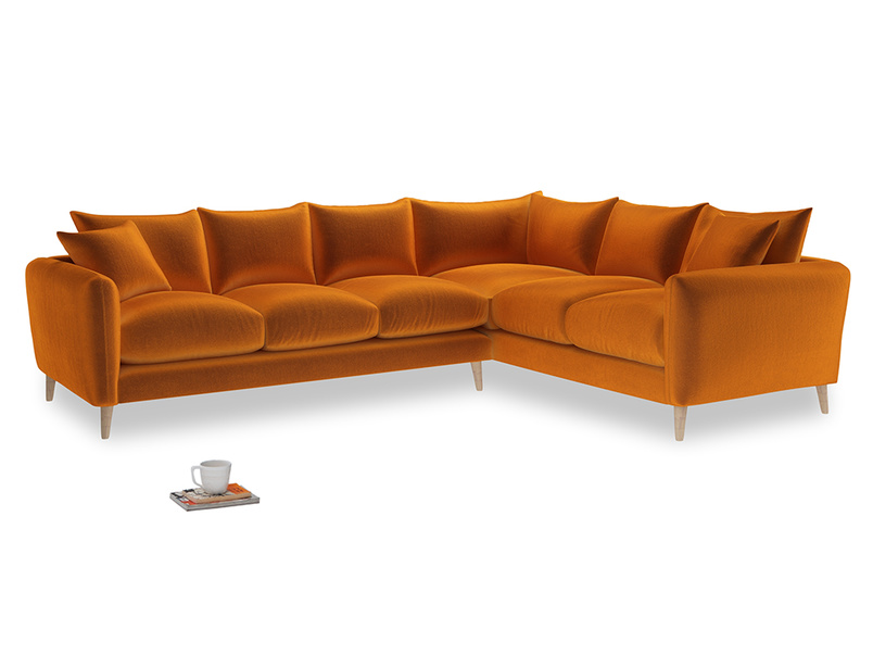 Xl Right Hand Squishmeister Corner Sofa in Spiced Orange clever velvet