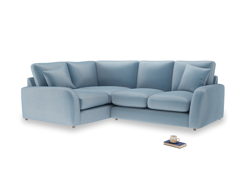 Large Left Hand Easy Squeeze Corner Sofa in Chalky blue vintage velvet