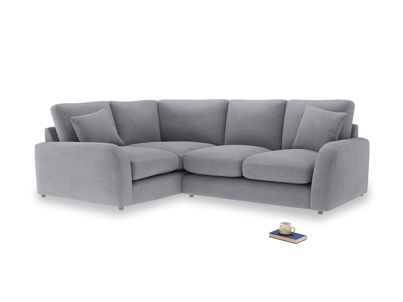 Large Left Hand Easy Squeeze Corner Sofa in Dove grey wool