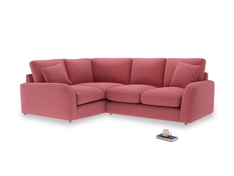 Large Left Hand Easy Squeeze Corner Sofa in Raspberry brushed cotton