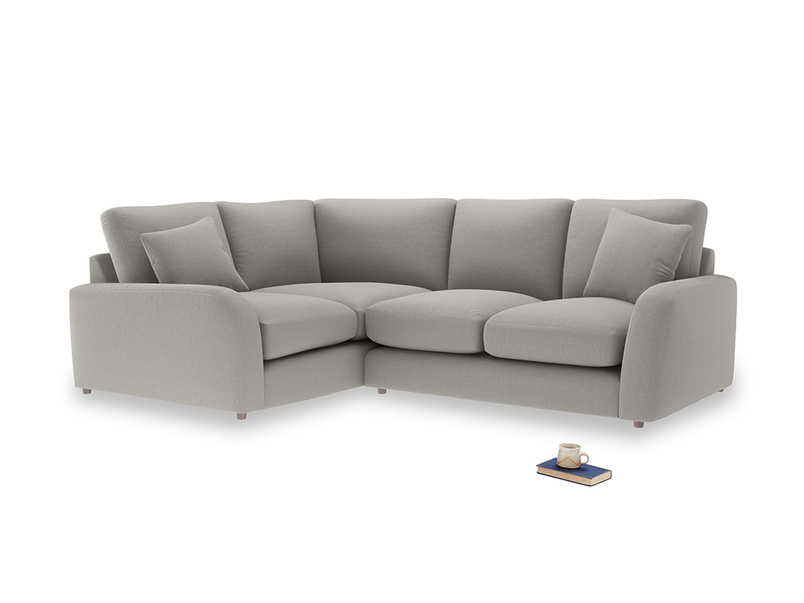 Large Left Hand Easy Squeeze Corner Sofa in Wolf brushed cotton
