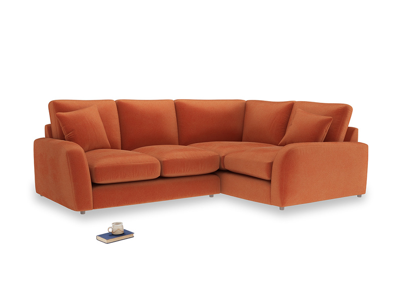 Large Right Hand Easy Squeeze Corner Sofa in Old Orange Clever Deep Velvet