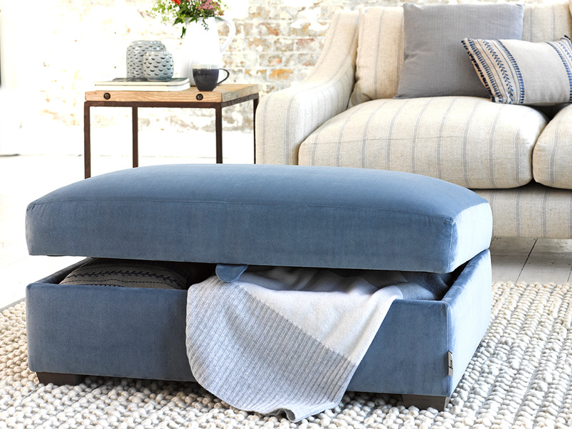 Handmade Bumper upholstered footstool with storage