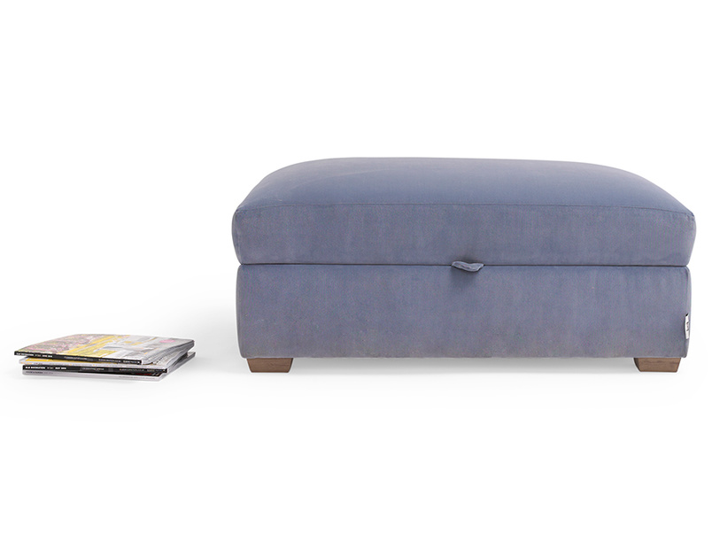 Bumper upholstered handmade footstool with storage
