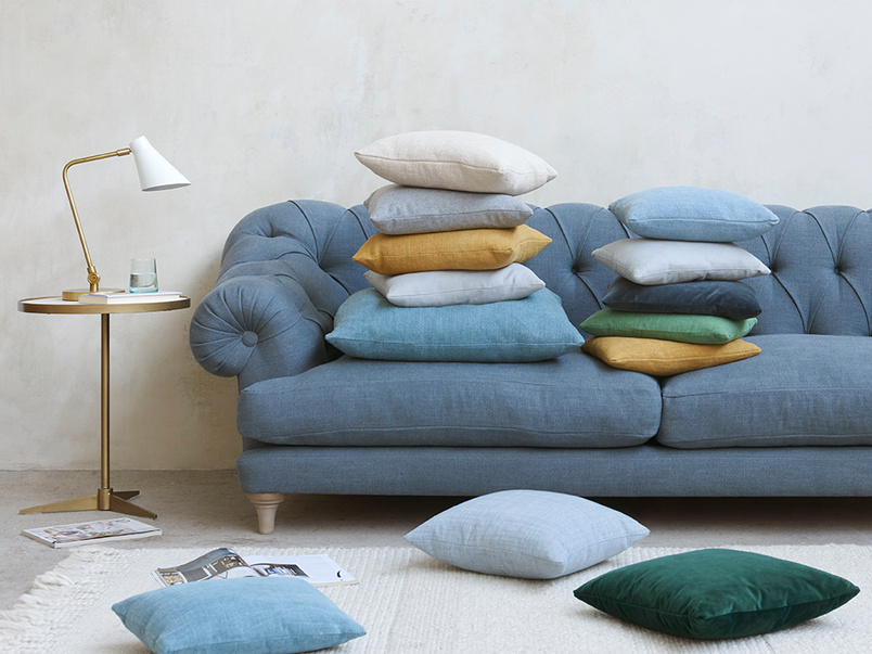 Scatter colourful material cushions