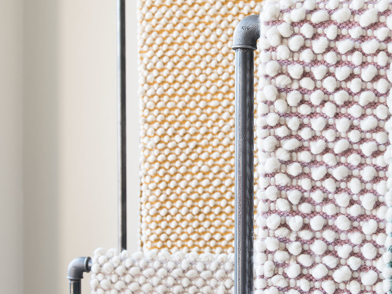 Bobble floor rug in Burnt Yellow