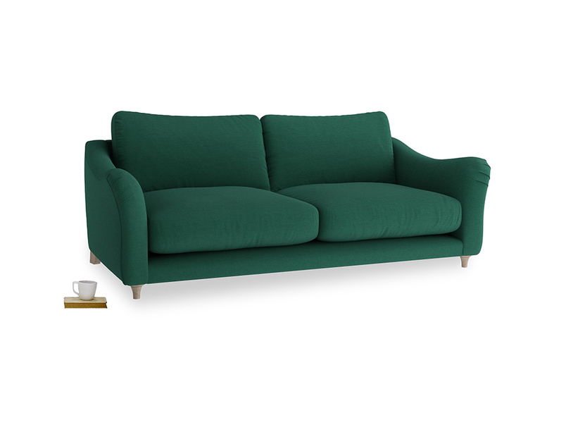 Large Bumpster Sofa in Cypress Green Vintage Linen