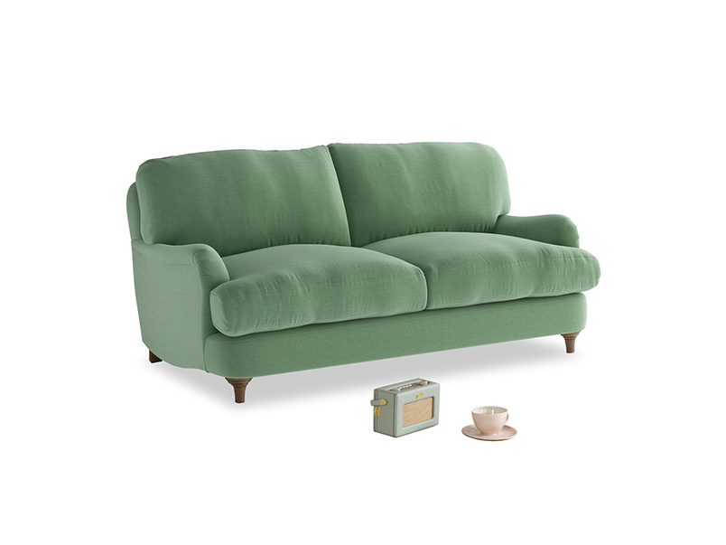 Small Jonesy Sofa in Thyme Green Vintage Linen