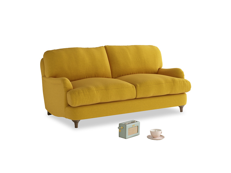 Small Jonesy Sofa in Yellow Ochre Vintage Linen