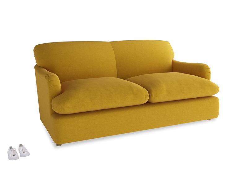 Medium Pudding Sofa Bed in Yellow Ochre Vintage Linen