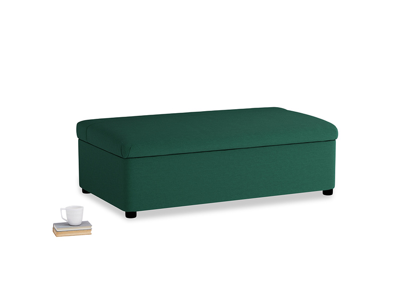 Double Bed in a Bun in Cypress Green Vintage Linen