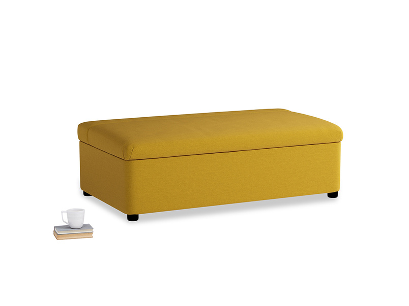 Double Bed in a Bun in Yellow Ochre Vintage Linen