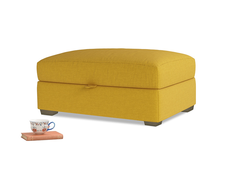 Bumper Storage Footstool in Yellow Ochre Vintage Linen