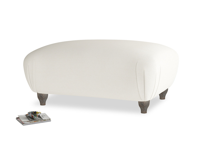 Rectangle Homebody Footstool in Chalky White Clever Softie