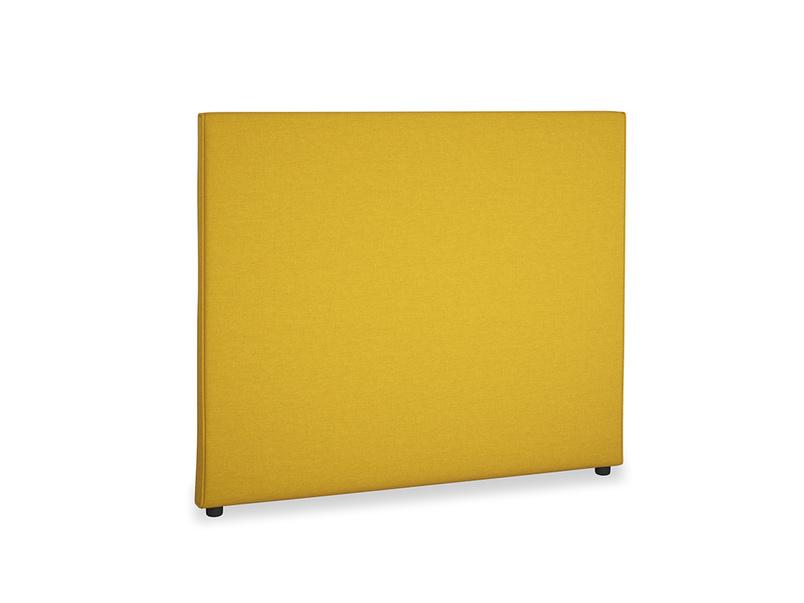 Double Piper Headboard in Yellow Ochre Vintage Linen