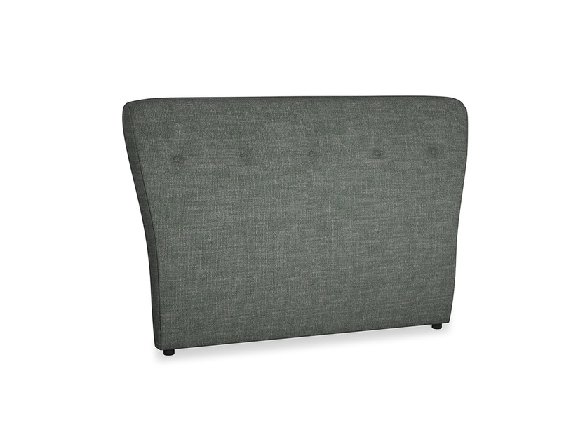 Double Smoke Headboard in Pencil Grey Clever Laundered Linen
