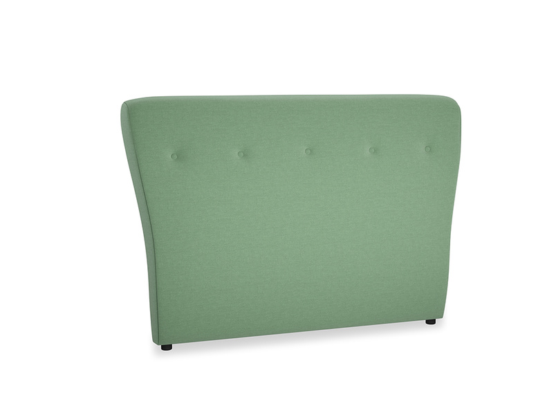 Double Smoke Headboard in Thyme Green Vintage Linen