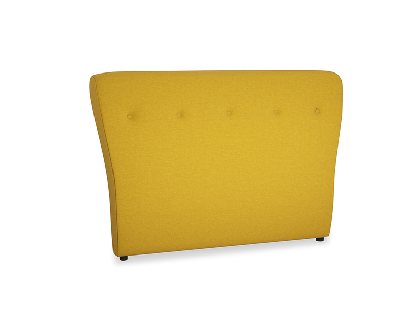 Double Smoke Headboard in Yellow Ochre Vintage Linen