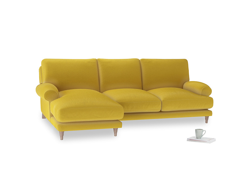 Large left hand Slowcoach Chaise Sofa in Bumblebee clever velvet