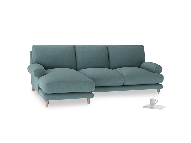 Large left hand Slowcoach Chaise Sofa in Marine washed cotton linen
