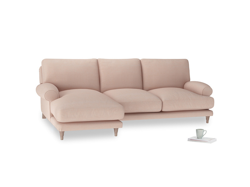 Large left hand Slowcoach Chaise Sofa in Pink clay Clever Softie