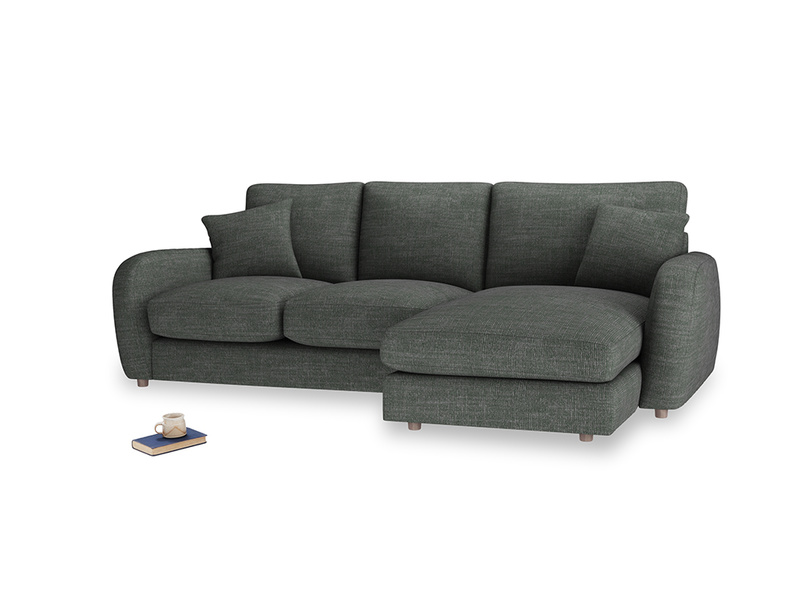 Large right hand Easy Squeeze Chaise Sofa in Pencil Grey Clever Laundered Linen