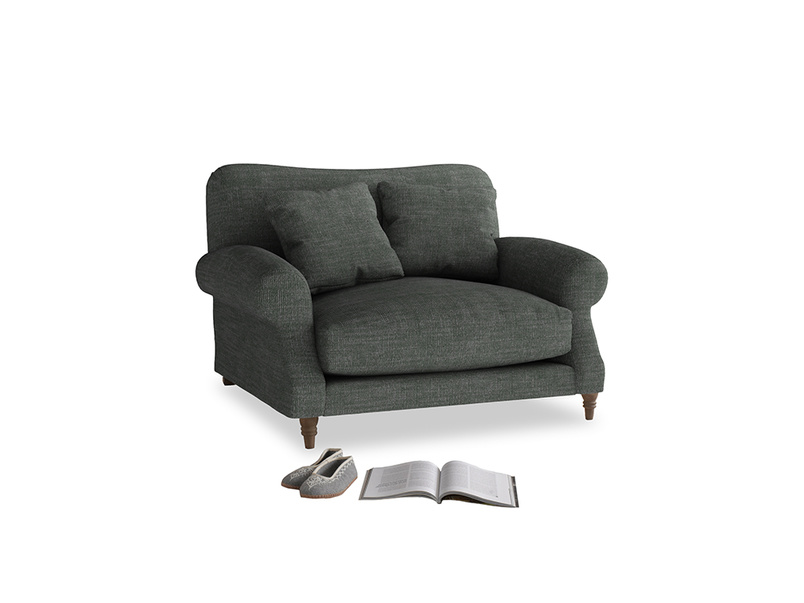Crumpet Love seat in Pencil Grey Clever Laundered Linen