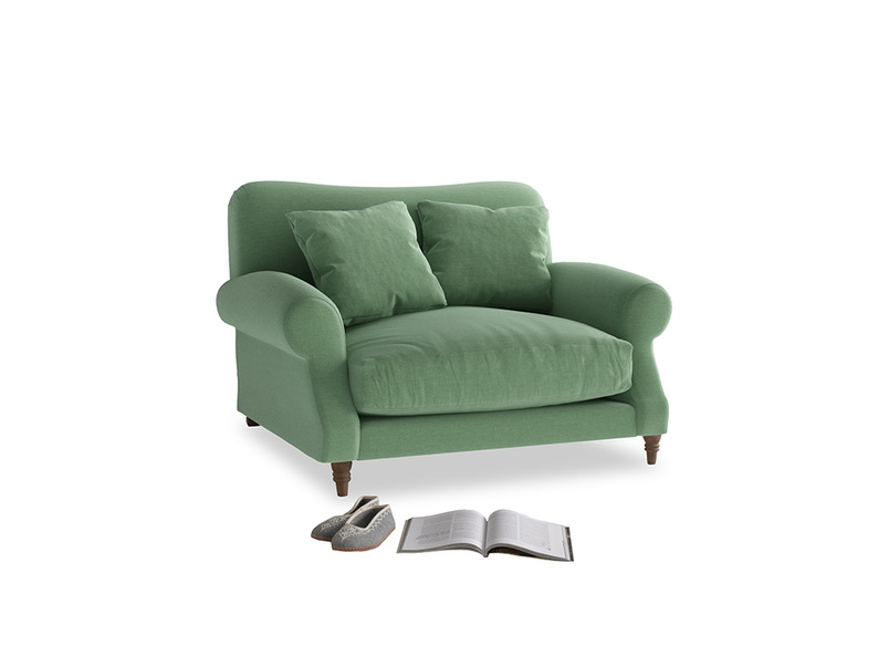 Crumpet Love seat in Thyme Green Vintage Linen