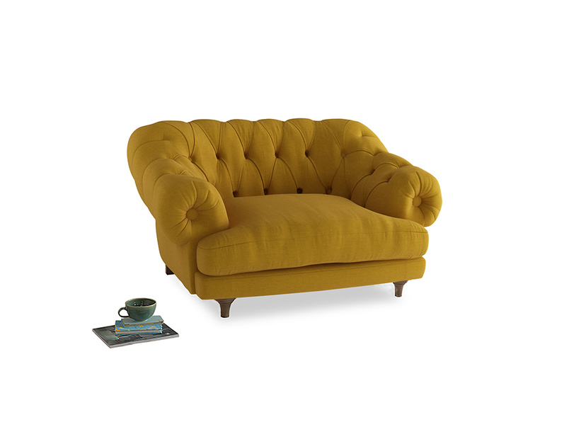Bagsie Love Seat in Yellow Ochre Vintage Linen