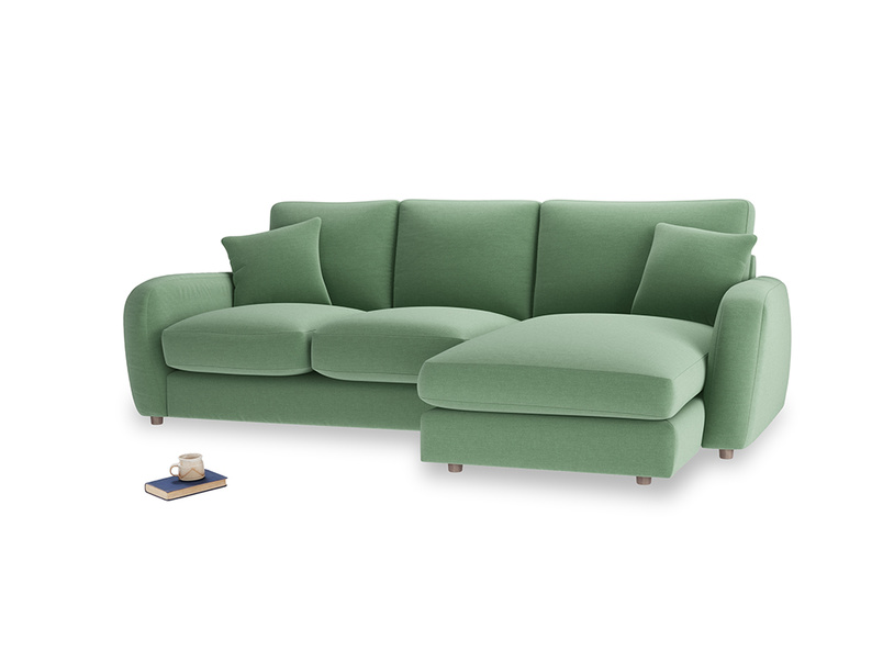 Large right hand Easy Squeeze Chaise Sofa in Thyme Green Vintage Linen