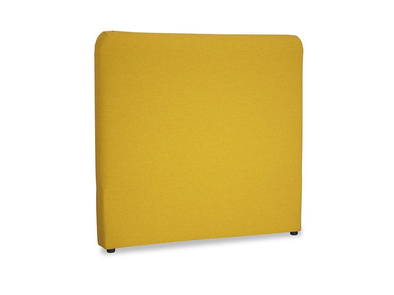 Double Ruffle Headboard in Yellow Ochre Vintage Linen