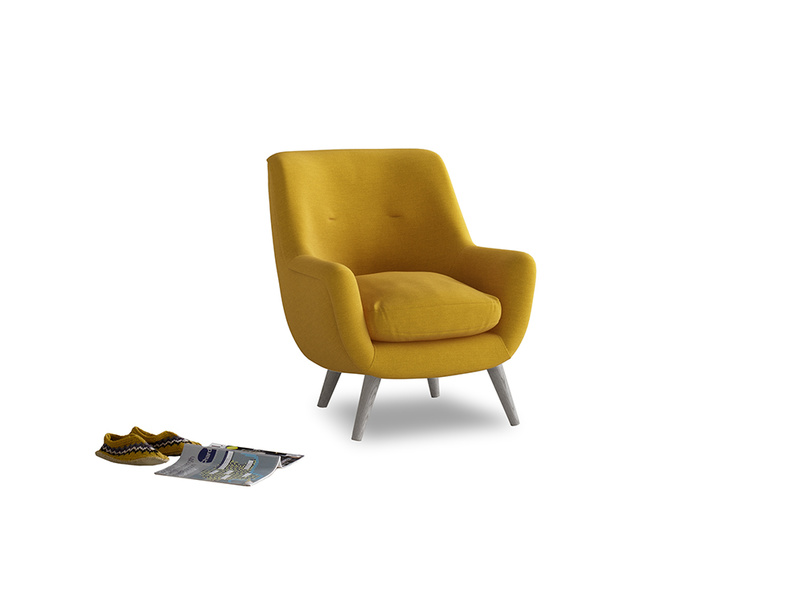 Berlin Armchair in Yellow Ochre Vintage Linen