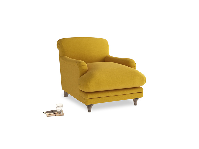 Pudding Armchair in Yellow Ochre Vintage Linen