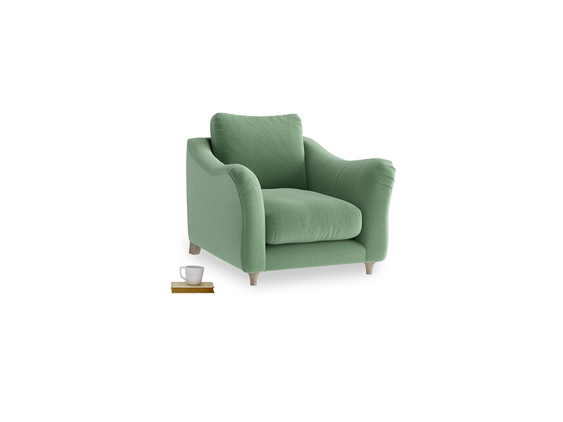 Bumpster Armchair in Thyme Green Vintage Linen