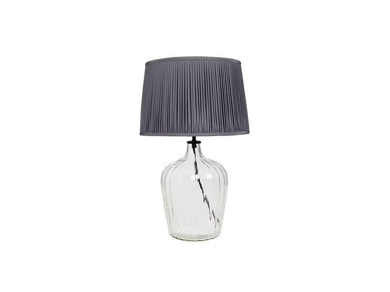 Flute glass table lamp Graphite pleated shade