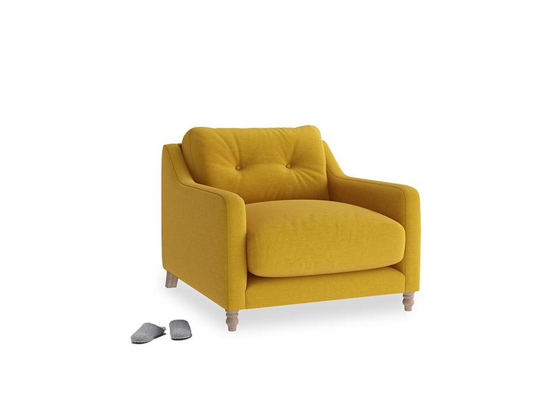 Slim Jim Armchair in Yellow Ochre Vintage Linen