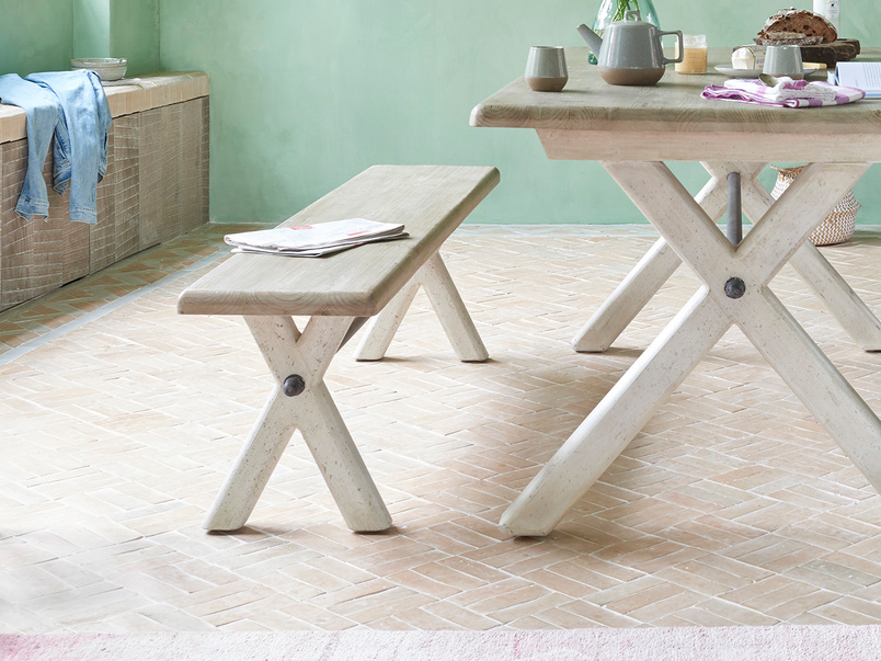 Scoff Wooden Cross Leg Kitchen Bench