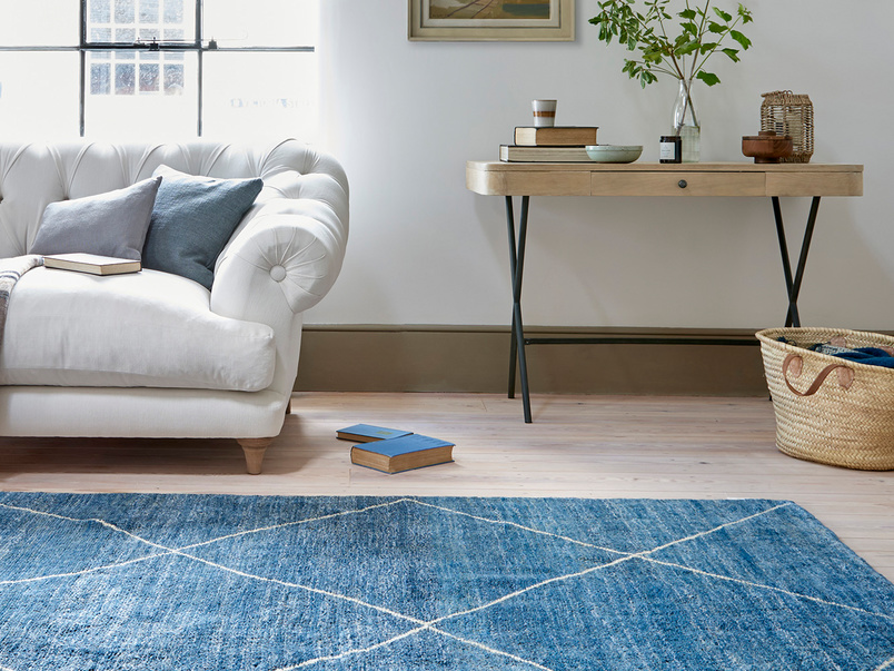 Habib Hand Knotted Rug in Blue Marl