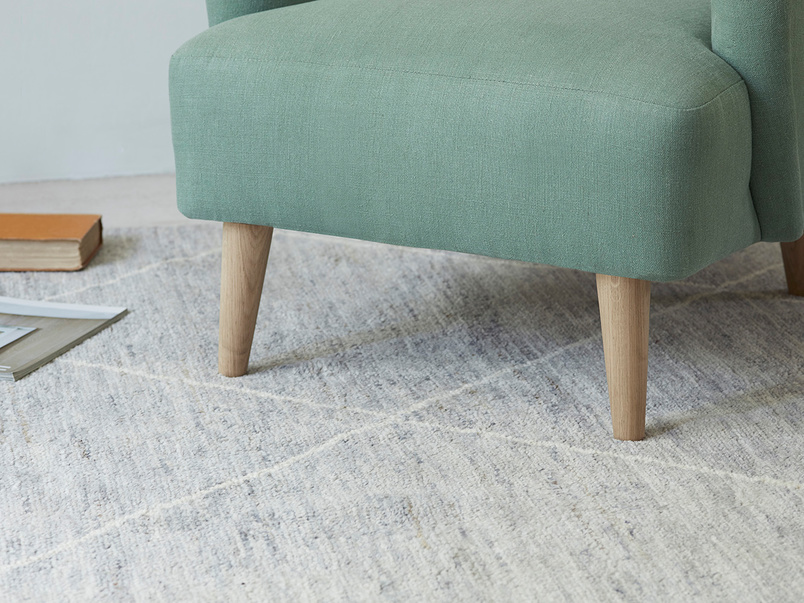 Habib woolen aghan rug in grey marl
