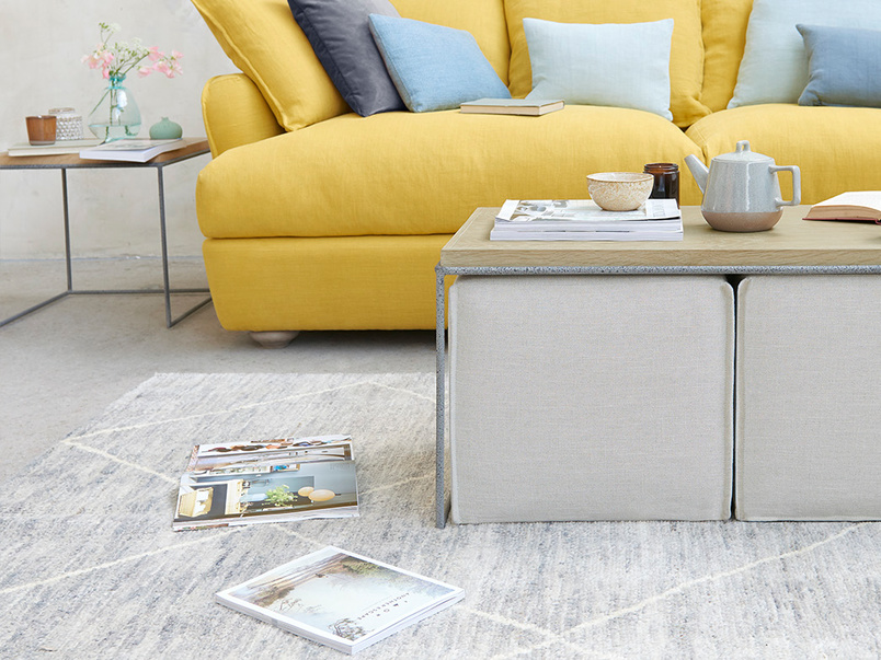 Caboodle Solid Oak Coffee Table with Clever Footstool Storage