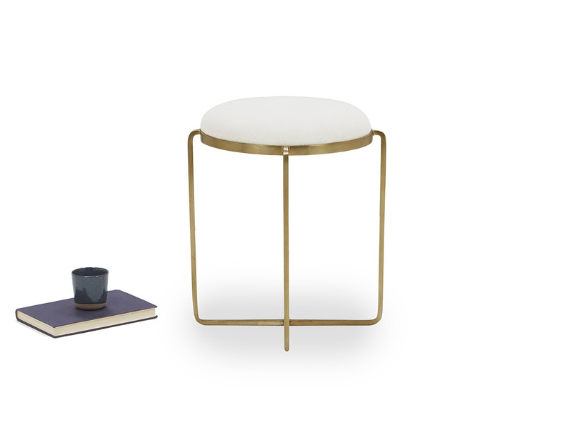 Footlight Brass and linen Dressing Table Stool