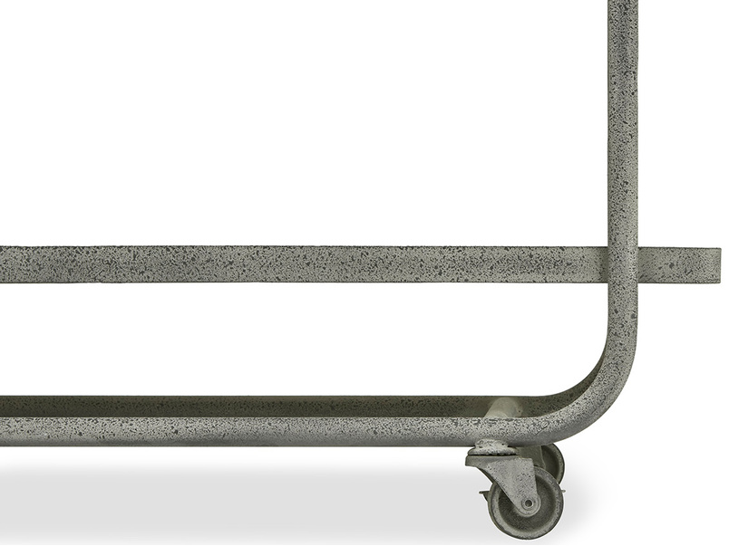 Busboy Industrial Style trolley shelves side wheels detail