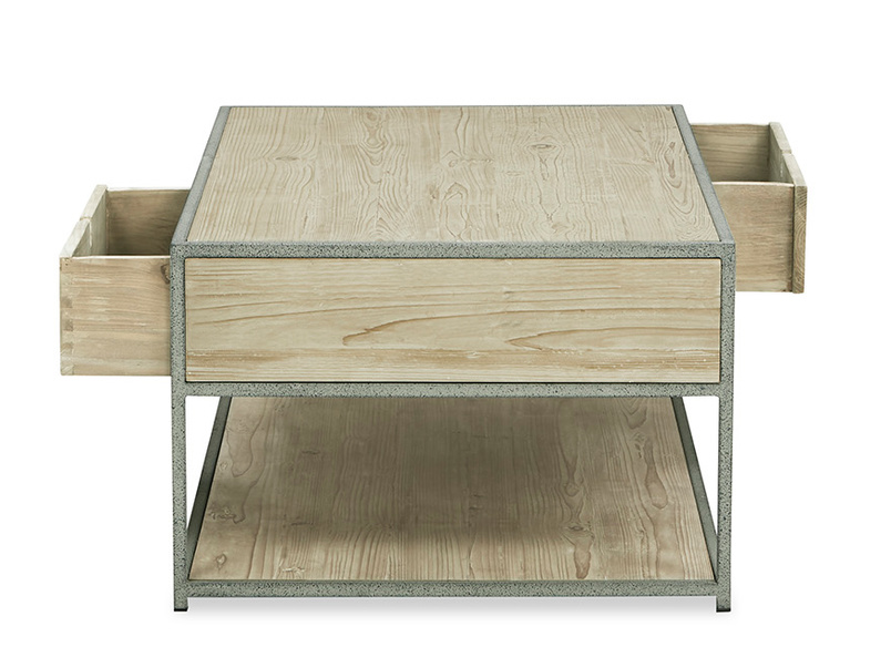Coffee Tim Wooden Storage Coffee Table open drawer detail
