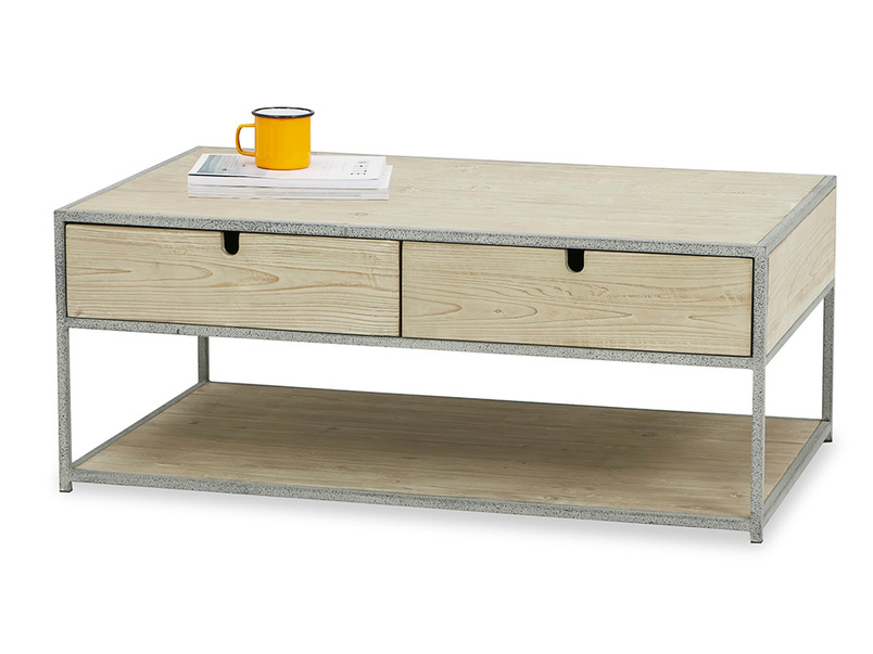 Coffee Tim Wooden and metal Storage Coffee Table
